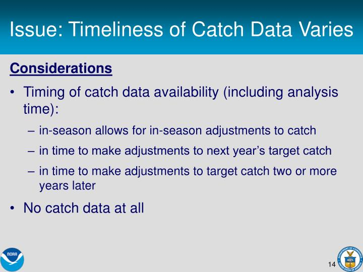 Issue: Timeliness of Catch Data Varies