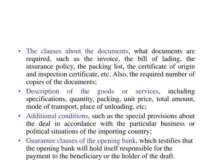 The clauses about the documents