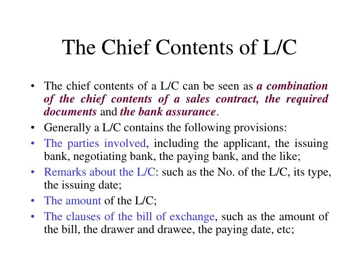 The Chief Contents of L/C