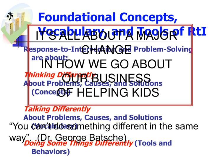 Foundational Concepts, Vocabulary, and Tools of RtI