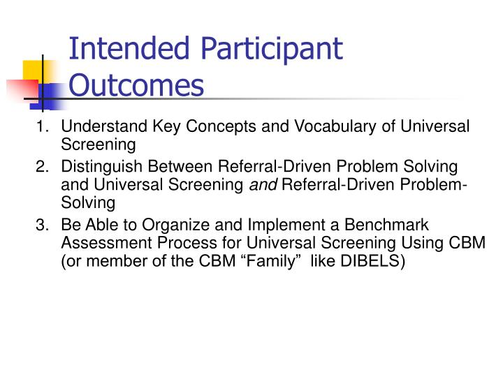 Intended Participant Outcomes