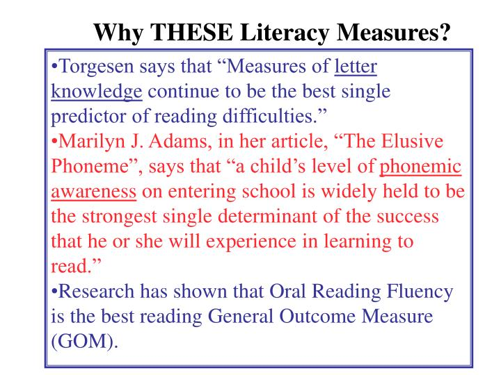 Why THESE Literacy Measures?