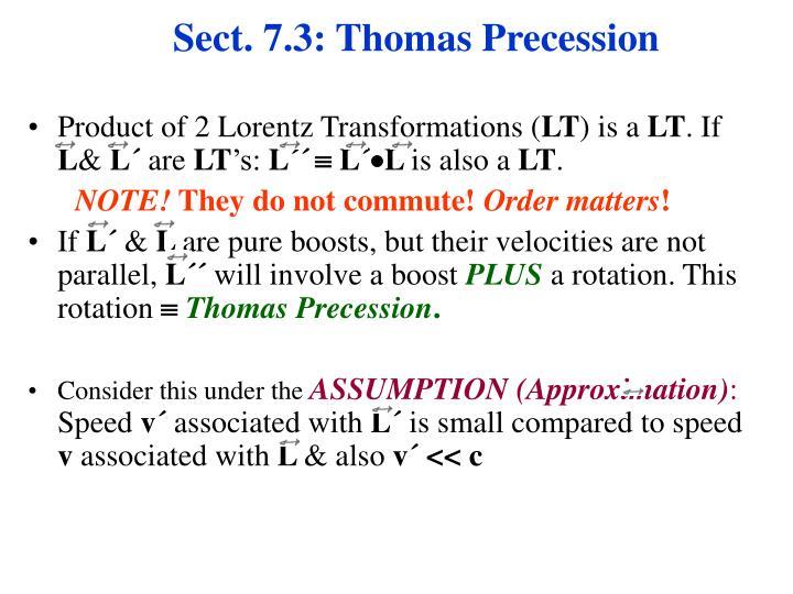 Sect. 7.3: Thomas Precession