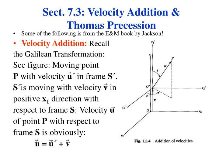 Sect. 7.3: Velocity Addition & Thomas Precession