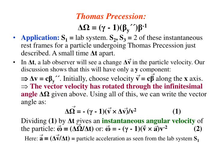 Thomas Precession: