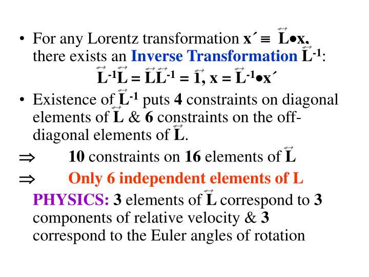 For any Lorentz transformation