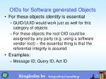 oids for software generated objects