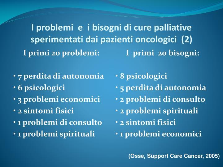 I problemi  e  i bisogni di cure palliative sperimentati dai pazienti oncologici  (2)