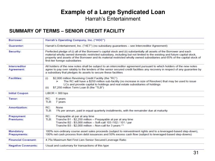 Example of a Large Syndicated Loan
