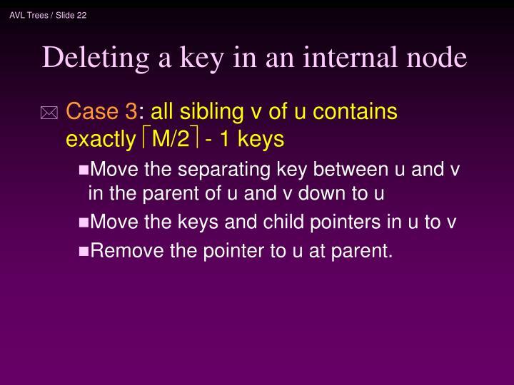 Deleting a key in an internal node