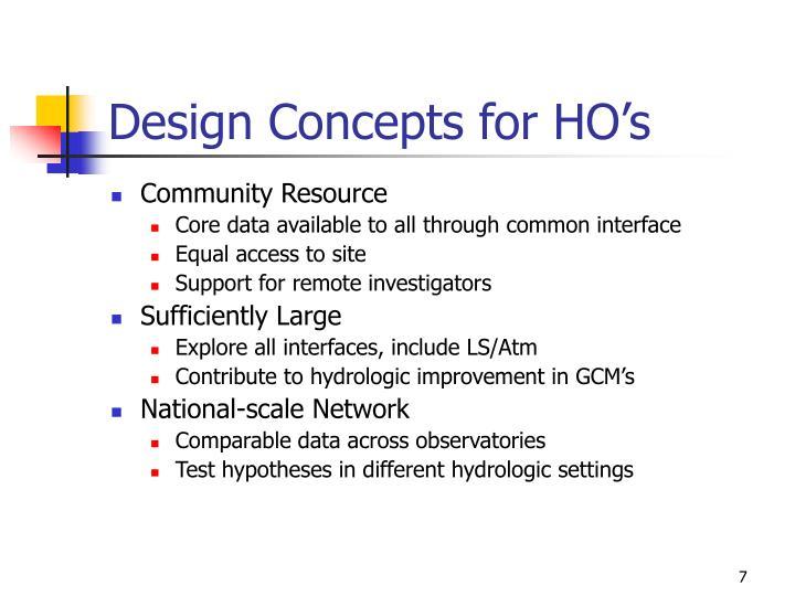 Design Concepts for HO's