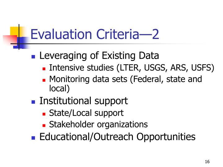 Evaluation Criteria—2