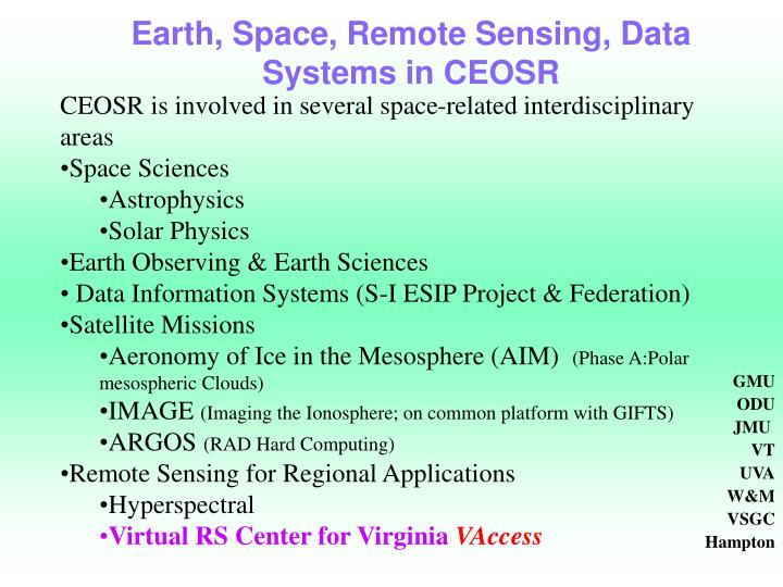 Earth, Space, Remote Sensing, Data Systems in CEOSR