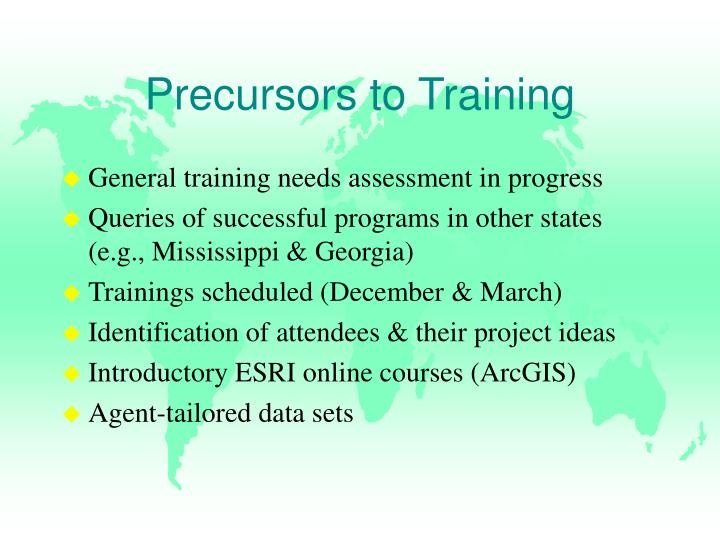 Precursors to Training