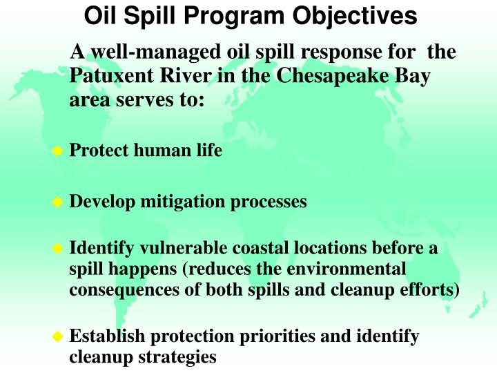 Oil Spill Program Objectives