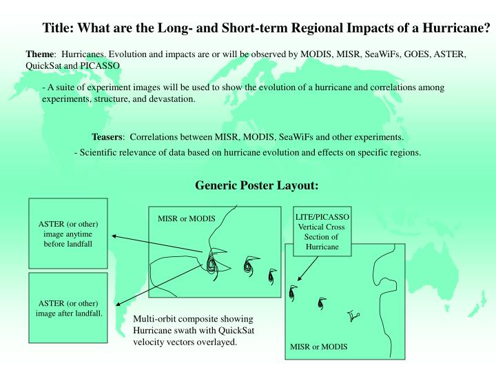 Title: What are the Long- and Short-term Regional Impacts of a Hurricane?