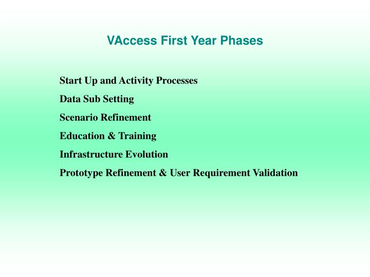 VAccess First Year Phases