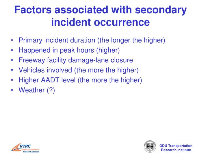 Factors associated with secondary