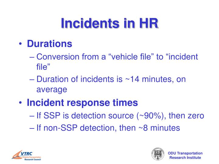 Incidents in HR