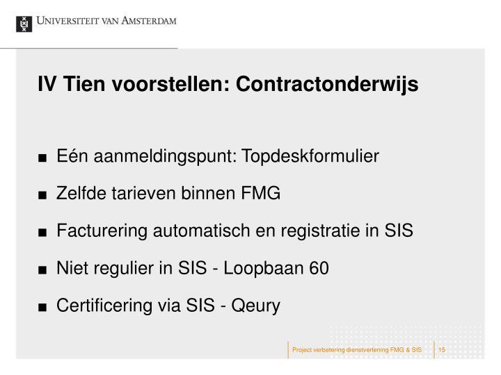IV Tien voorstellen: Contractonderwijs