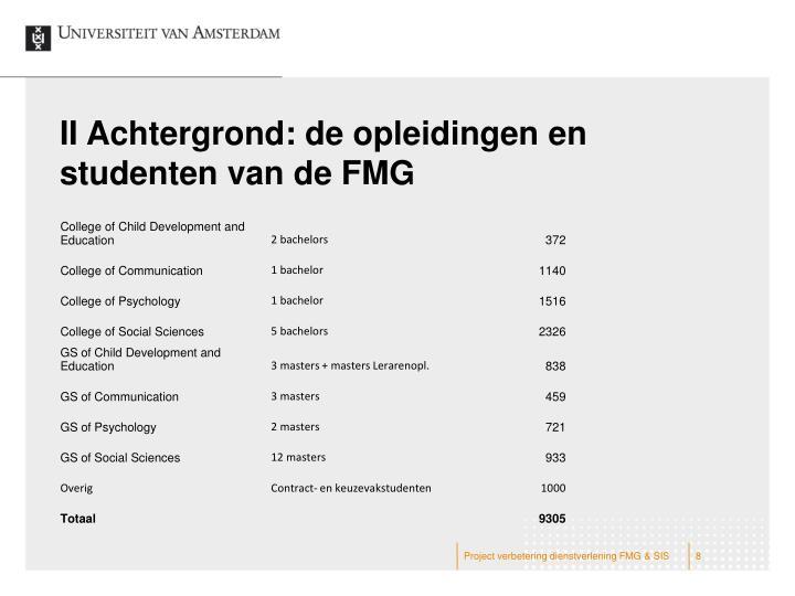 II Achtergrond: de opleidingen en studenten van de FMG