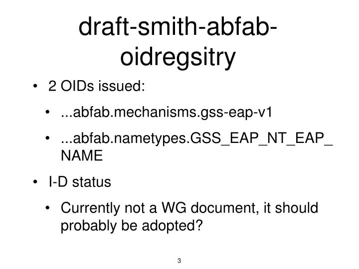 Draft smith abfab oidregsitry
