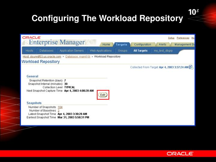 Configuring The Workload Repository