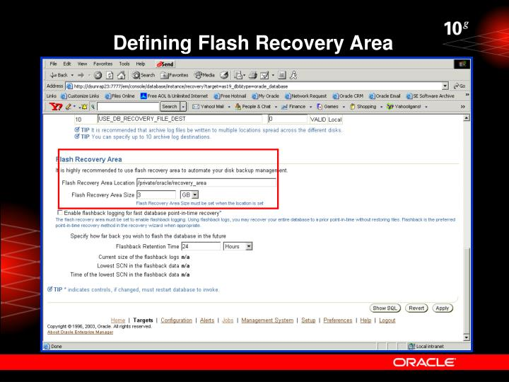 Defining Flash Recovery Area