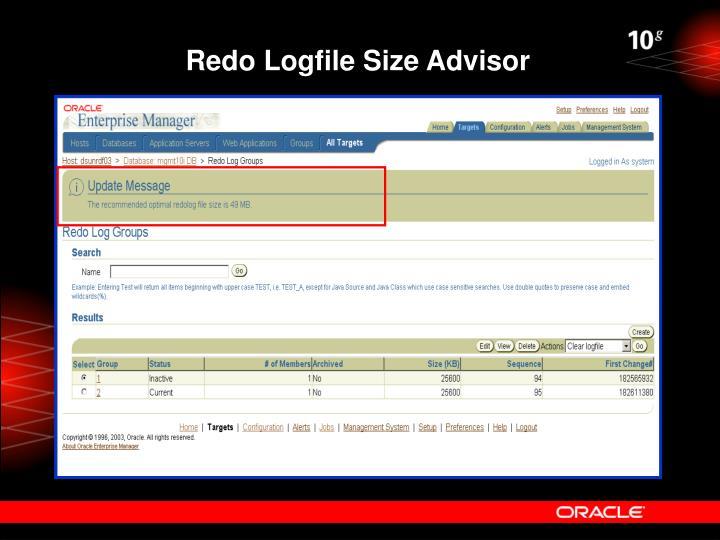 Redo Logfile Size Advisor