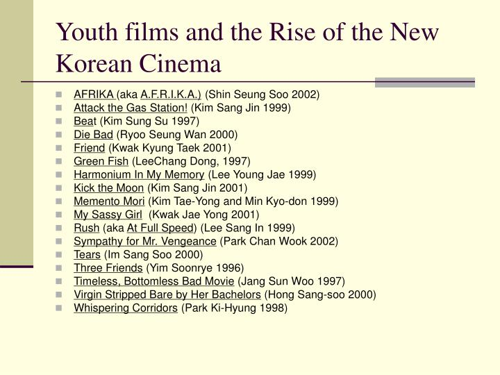 Youth films and the Rise of the New Korean Cinema