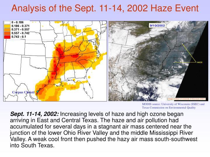 Analysis of the Sept. 11-14, 2002 Haze Event