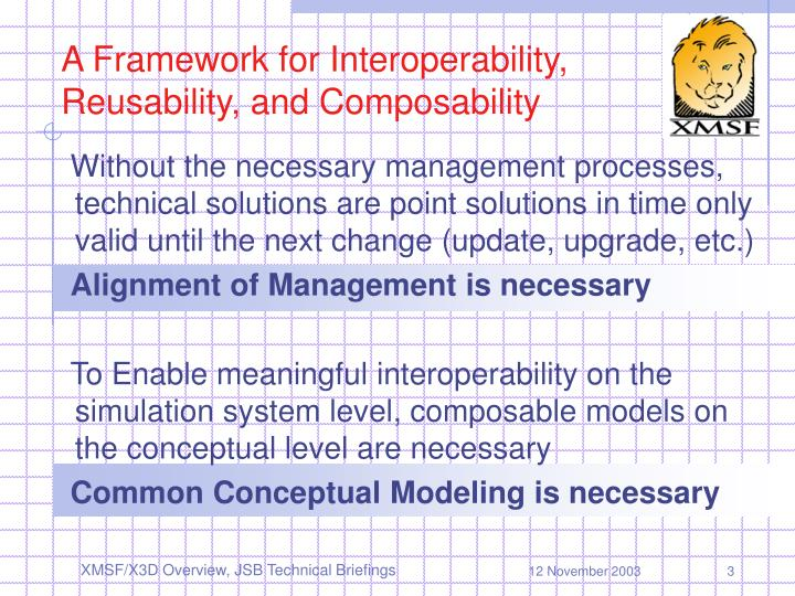A Framework for Interoperability, Reusability, and Composability