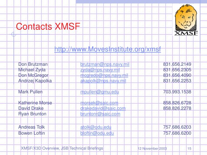 Contacts XMSF