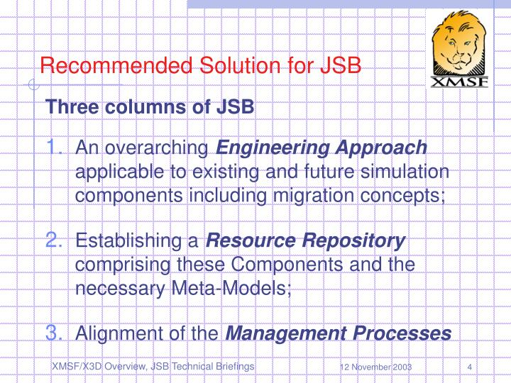 Recommended Solution for JSB