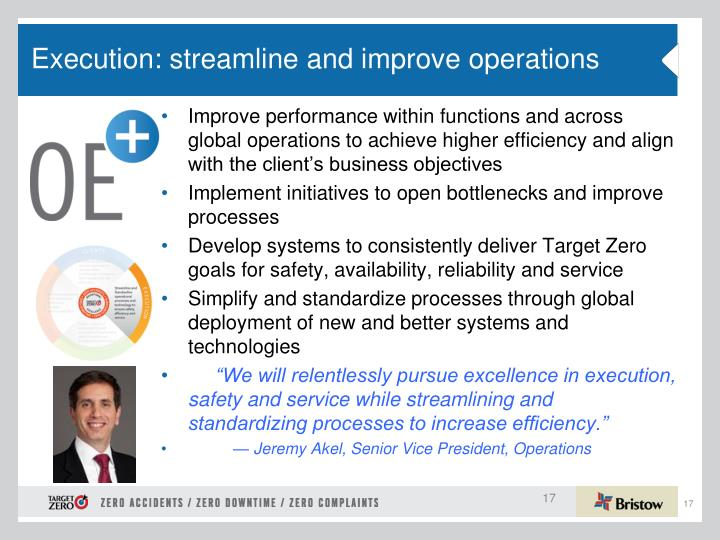 Execution: streamline and improve operations