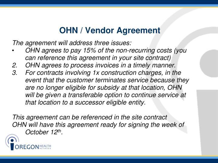 OHN / Vendor Agreement