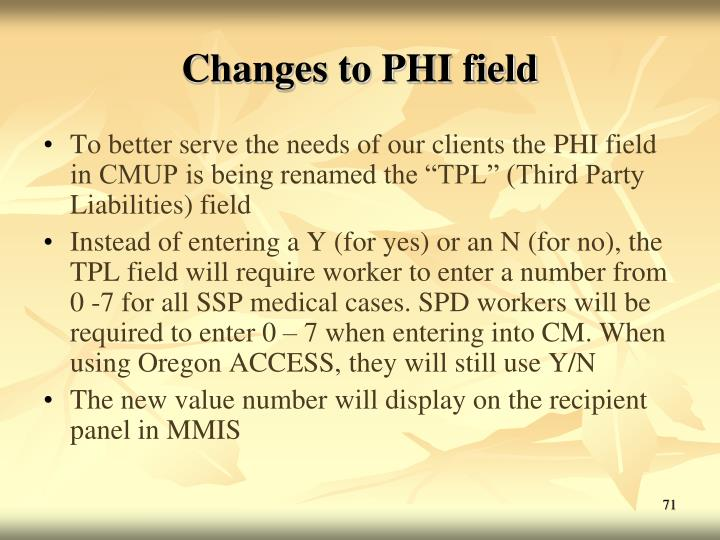 Changes to PHI field