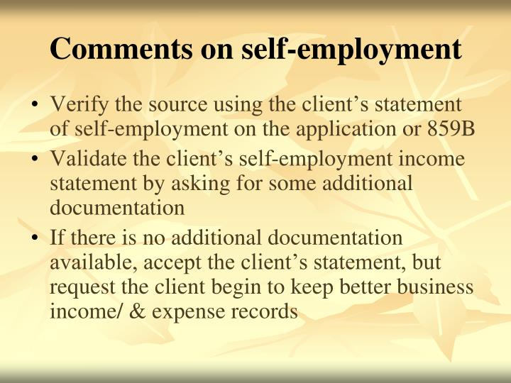 Comments on self-employment