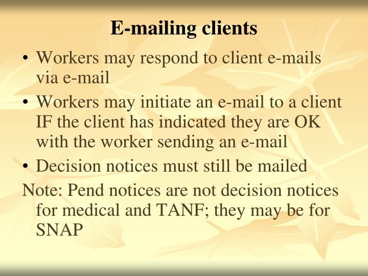 E-mailing clients