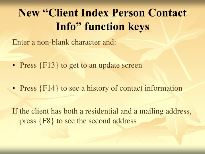 "New ""Client Index Person Contact Info"" function keys"