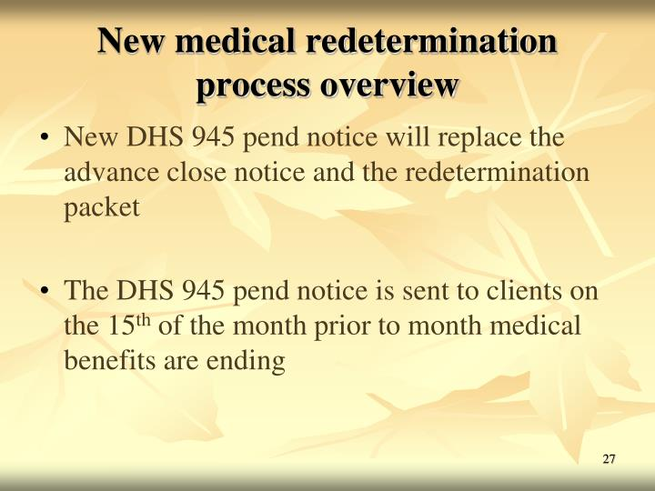 New medical redetermination process overview