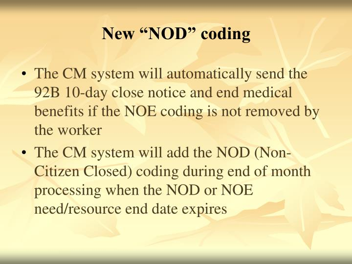"New ""NOD"" coding"