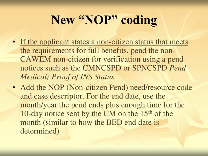 """New """"NOP"""" coding"""