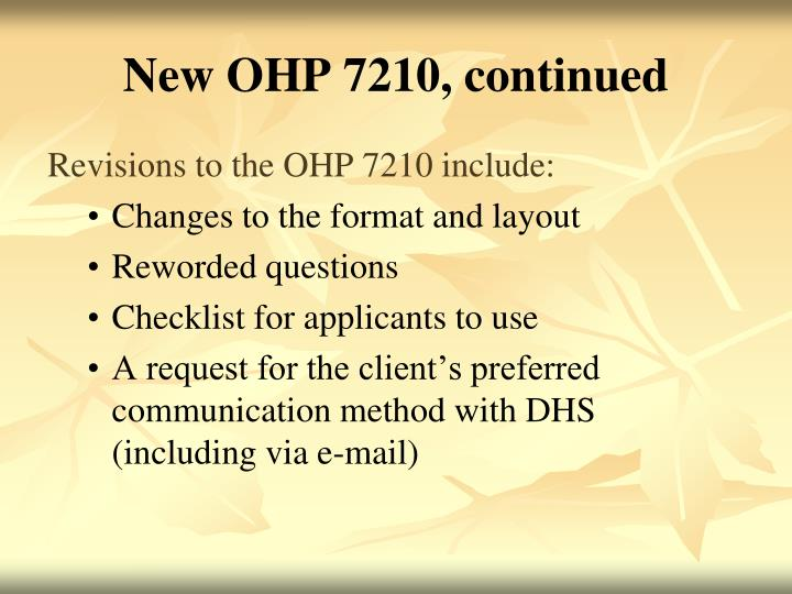New OHP 7210, continued