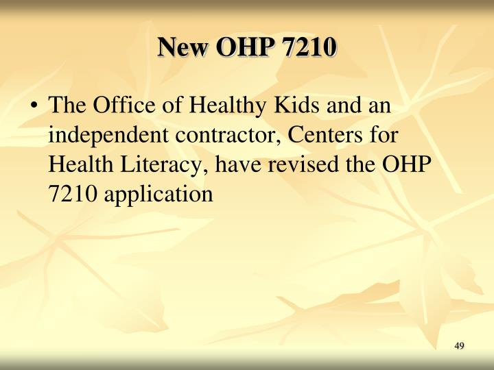 New OHP 7210