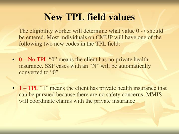New TPL field values