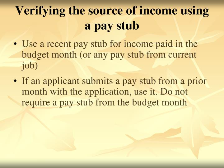 Verifying the source of income using a pay stub