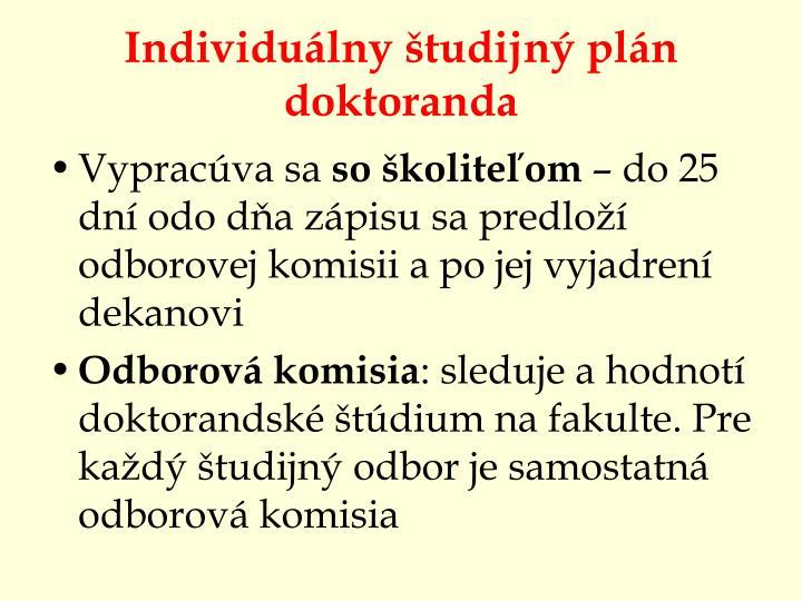 Individuálny študijný plán doktoranda
