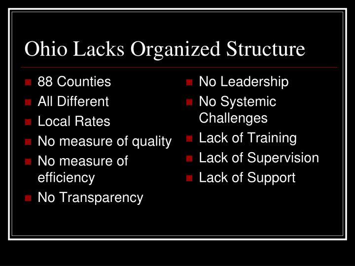 Ohio Lacks Organized Structure