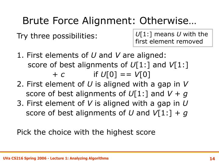 Brute Force Alignment: Otherwise…